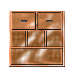 Drawing office cabinet shelf close empty handle vector