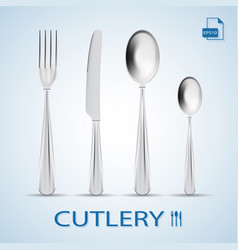 Cutlery set of fork spoon knife and dessert vector