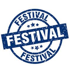 Festival blue round grunge stamp vector
