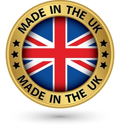 Made in the uk gold label vector