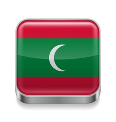 Metal icon of maldives vector