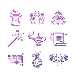 Magic related linear icons and signs vector