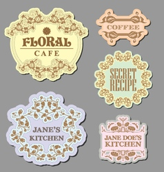 Vintage retro floral label badges vector