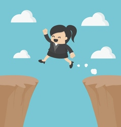Business woman jumping over the cliff vector