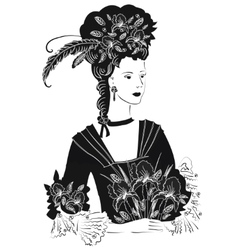 Black and White Lady with Iri vector image
