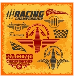 Car racing emblems and championship race vector