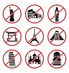 Not to visit landmarks icons vector