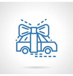 Automobile gift blue line icon vector