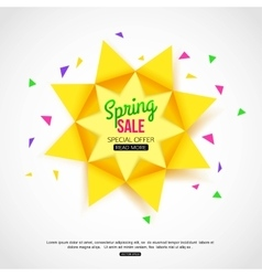Sale background with paper sun sale banner vector