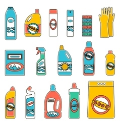 Group bottles of chemicals for household on white vector