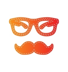 Mustache and glasses sign orange applique vector