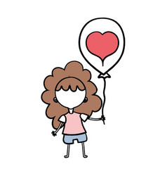 beauty girl with balloon design in the hand vector image