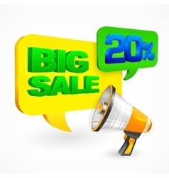 Big sale inscription megaphone vector image