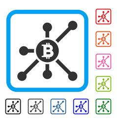 Bitcoin node framed icon vector