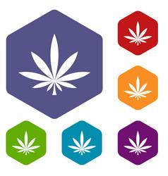 Cannabis leaf icons set vector