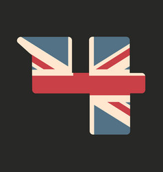 Capital number four with uk flag texture isolated vector