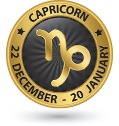 Capricorn zodiac gold sign virgo symbol vector image