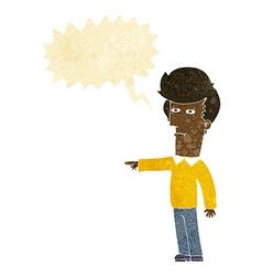 Cartoon man blaming with speech bubble vector