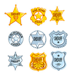 Collection of different sheriff railroad police vector