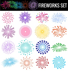 Colorful Fireworks on white background vector image