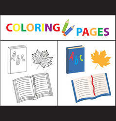 Coloring book page back to school set book vector