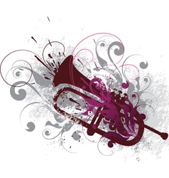 decorated horn vector image vector image