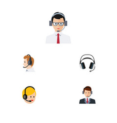 Flat telemarketing set of help earphone vector