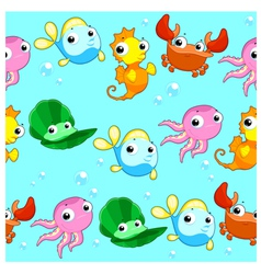 Funny sea animals with background vector image