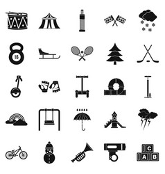 games for children icons set simple style vector image