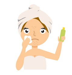 girl cleans her face with cosmetic lotion skin vector image