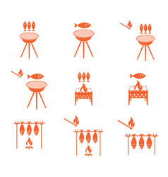 Grilled fish icons set vector