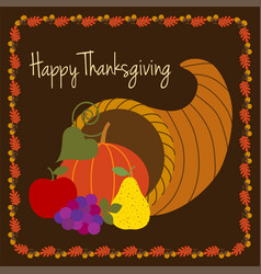happy thanksgiving with cornucopia vector image vector image
