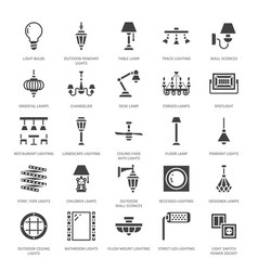 Light fixture lamps flat glyph icons home and vector