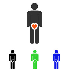 male love heart flat icon vector image