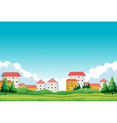 Neighborhood with houses and park vector image