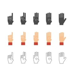 Numbers hand gesture icons vector