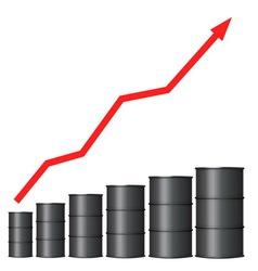 Oil barrels with red arrow vector
