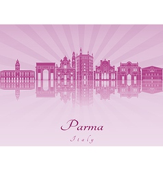 Parma skyline in purple radiant orchid vector