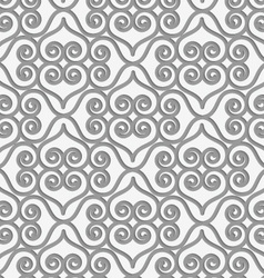 Perforated swirly grid with hearts vector
