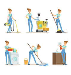 professional cleaning service woman cleaner make vector image