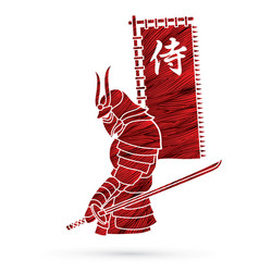 Samurai standing with sword and flag samurai vector