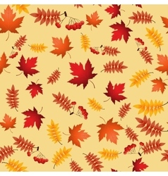 seamless pattern with red and yellow autumn vector image vector image