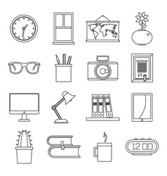 set flat line office and house items vector image vector image
