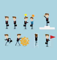 set of businessman flat design vector image