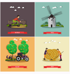 Set of farming posters banners in flat vector