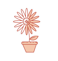 Silhouette beautiful sunflower in the flowerpot vector