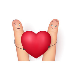 Two funny fingers holding red heart vector