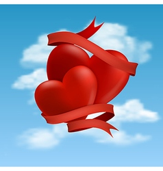 Two hearts hovering in clouds vector