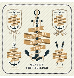 Vintage nautical anchor and ribbon labels set vector
