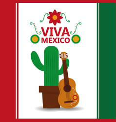 Viva mexico potted cactus and guitar poster party vector